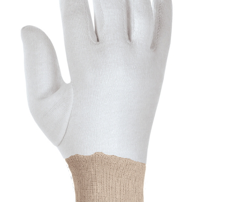 interlock bleached gloves with natural knitted wrist